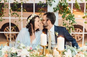 Bride in Blue Sheer Shawl with Flower Crown at Sweetheart Table