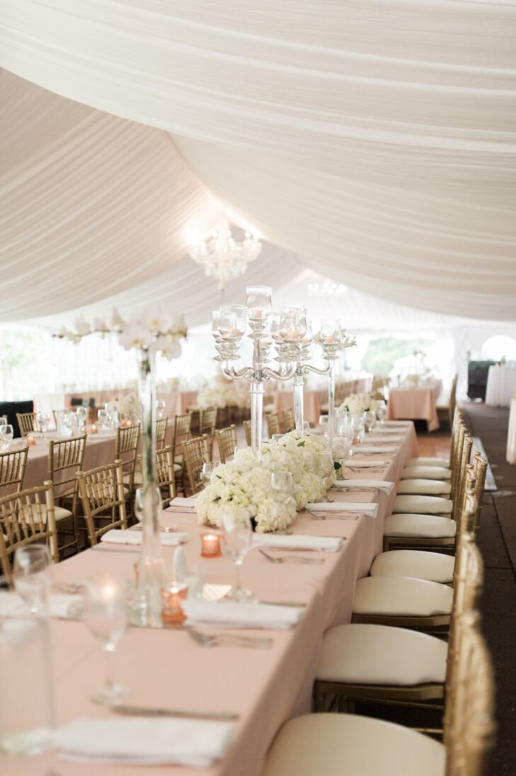 Tented Reception with Blush Accents