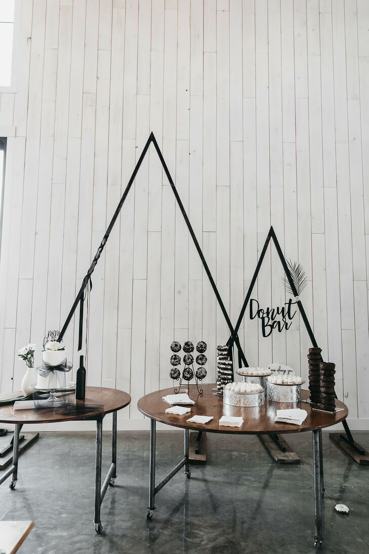 Black-and-White Donut Bar with Modern Decorations