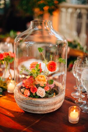 Glass Cloche Centerpieces with Succulents and Coral Flowers
