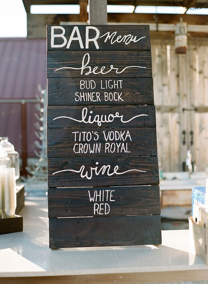 Marissa's parents created the bar menu sign.
