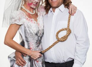 Halloween holds a special place in Alison Kozsuch, an assistant manager, 34, and Dustin Johnson's, a manager, 31, hearts, making it the perfect theme