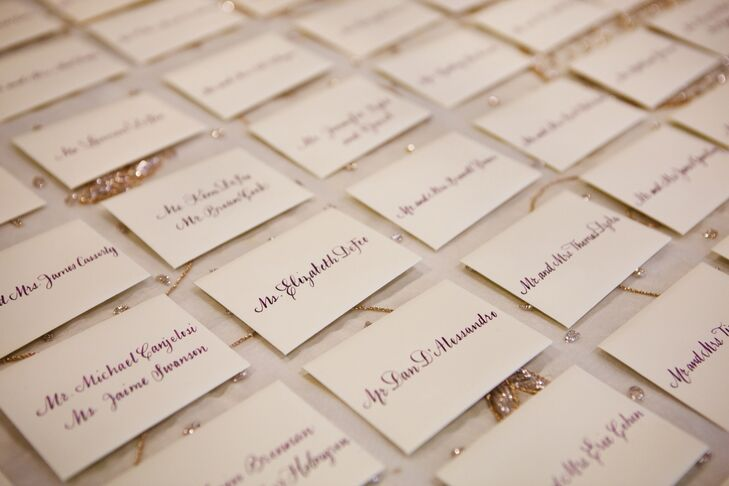 The simple escort cards featured calligraphy.