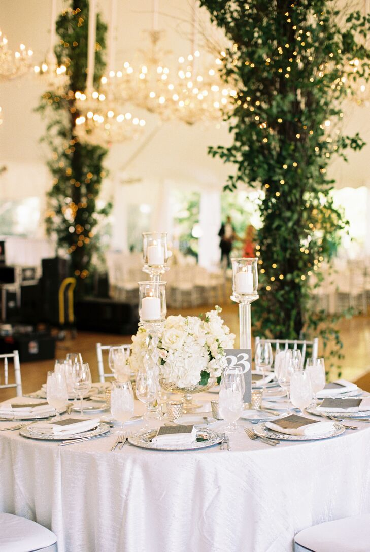 Round Reception Tables Dressed with White and Metallic Details