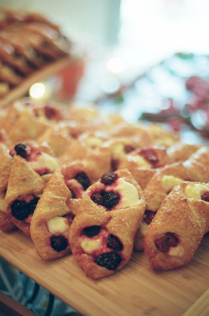 The groom's favorite treat, cream cheese danish filled with a variety of different fruits, were on the menu at the reception.