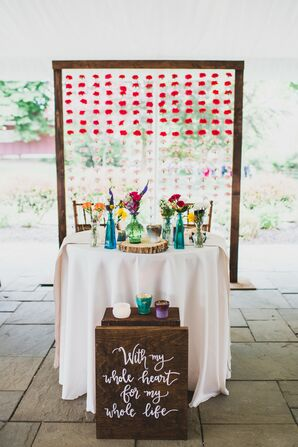 Colorful, Rustic Sweetheart Table with Ombré Carnation Backdrop