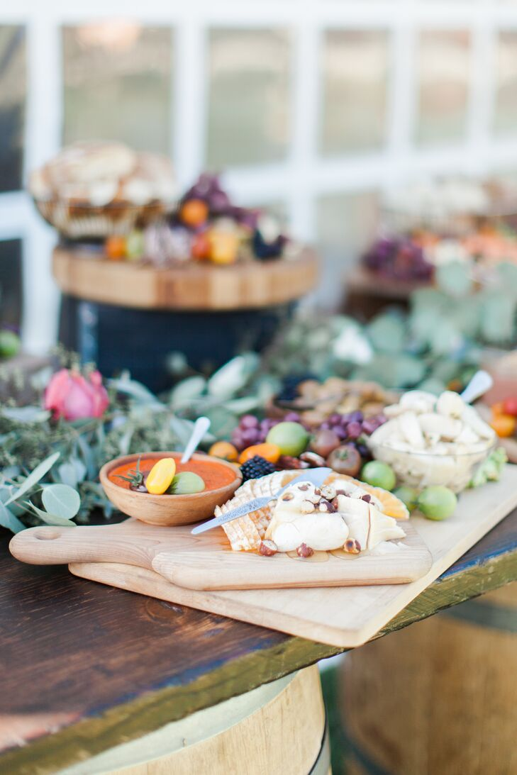 """Our guests were treated to a charcuterie spread during cocktail hour, featuring Olympia Provisions and Kruger's Farm vegetables,"" Eliza says. ""We also served local wines and beers, most being from the Columbia River Gorge, where our venue was located."""