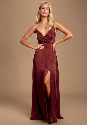 Lulus Constantine Burgundy Satin Maxi Dress V-Neck Bridesmaid Dress