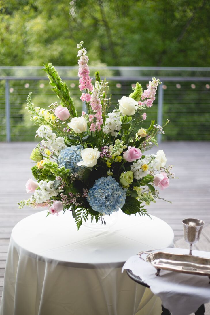 Large Asymmetrical Pastel Flower Arrangement at The Grove
