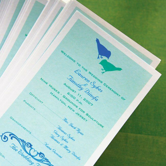 Tim designed the ceremony programs using their signature colors and graphic birds.