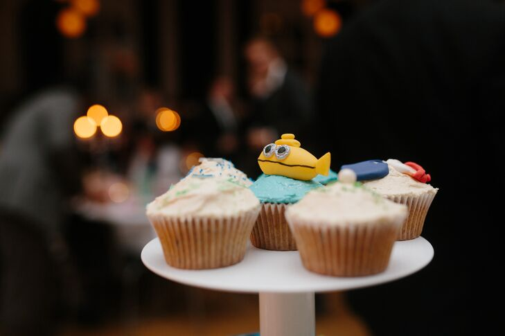 The cupcakes for dessert were decorated with motifs from Wes Anderson movies. One such motif was the yellow submarine from 'The Life Aquatic with Steve Zissou.'