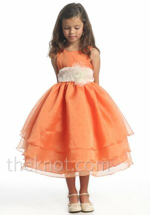 Pink Princess D3340 Orange Flower Girl Dress