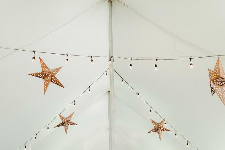 Tented Reception with String Lights and Stars Hanging Overhead
