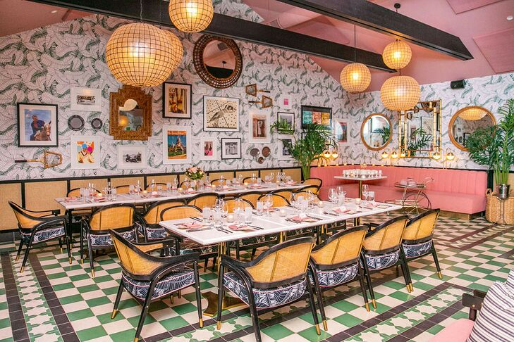 Eclectic Decorations and Intimate Dining Tables in the Pink Cabana at Sands Hotel & Spa in Indian Wells, California