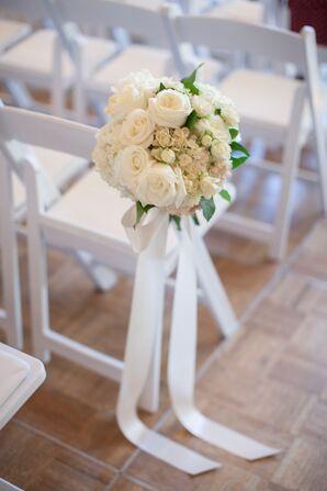 Ivory Rose and Hydrangea Aisle Decoration