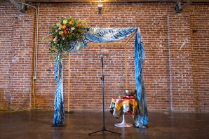 Blue Tie-Dyed Wedding Arch