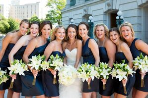 Elle's Bridesmaids in Short Navy Dresses