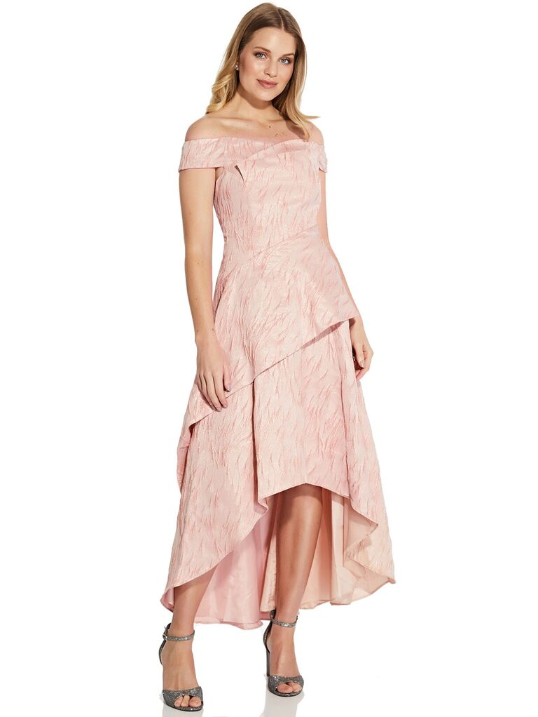 Pink textured off-the-shoulder dress with high-low skirt
