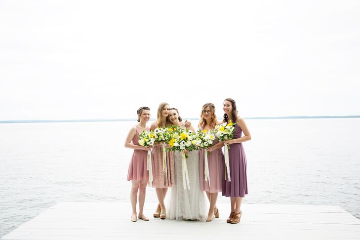 Emma wanted her bridesmaids to wear dresses that they felt comfortable in, which isn't always an easy feat for a bride-to-be to achieve. Luckily, Emma also wanted the dresses to have a unique look, so she let the girls choose their own dresses, stipulating only that they should be in a shade of dusty rose.