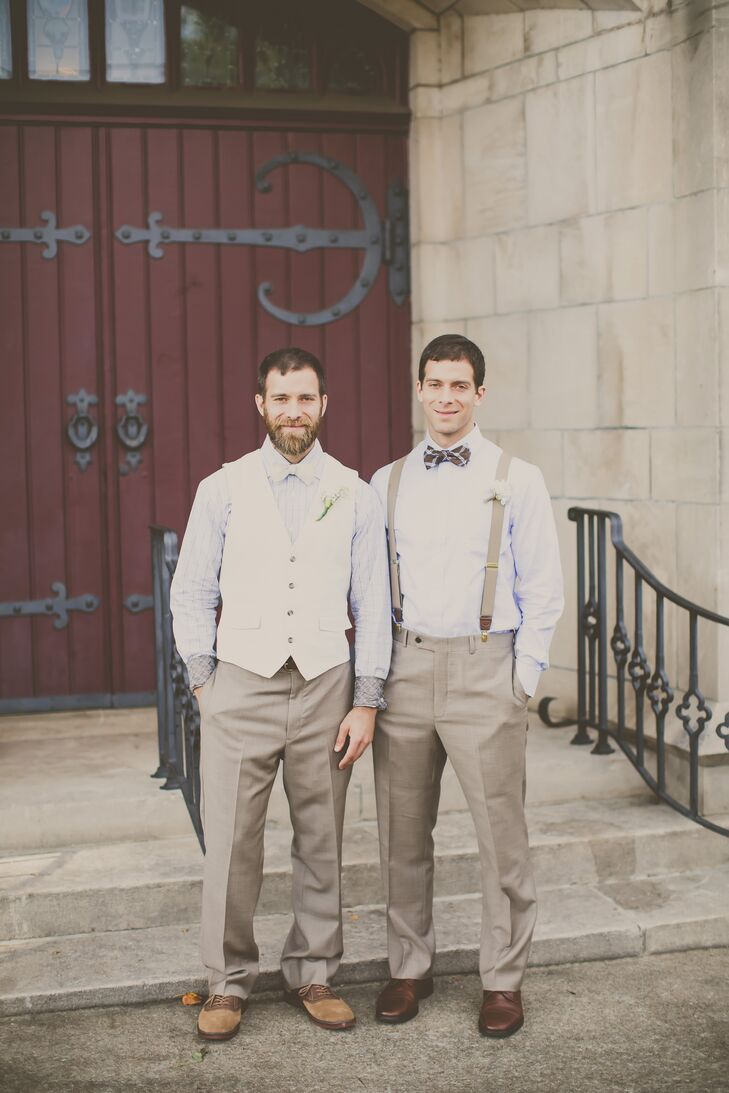 Alex and his best man kept things casual, yet polished, opting for khaki trousers, pale blue button down shirts and bow ties. Alex sported an ivory vest, choosing suspenders for his best man.