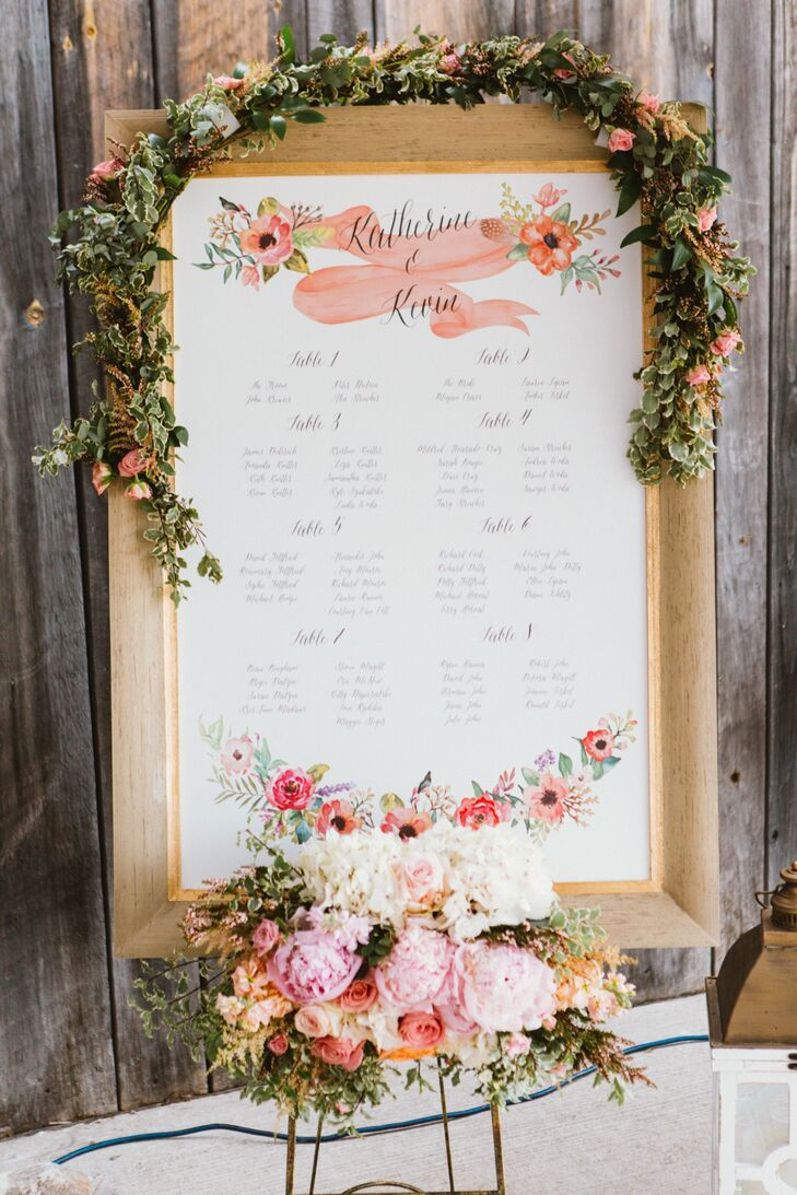The couple decided against classic escort cards and helped guests find the way to their seats with a beautiful customized seating chart decorated with hand-painted florals, whimsical script and an elegant gold frame. A garland of roses and variegated greenery was placed at the top, with a lush bunch of peonies, roses, hydrangeas and more accenting the bottom.