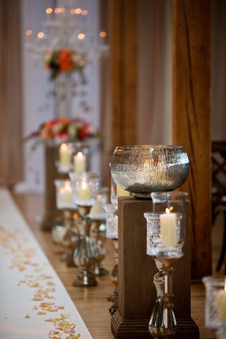 Mercury Vases and Candelabra Aisle Decor