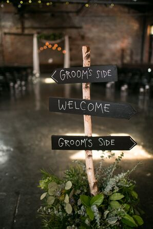 Rustic Birch and Chalkboard Welcome Sign