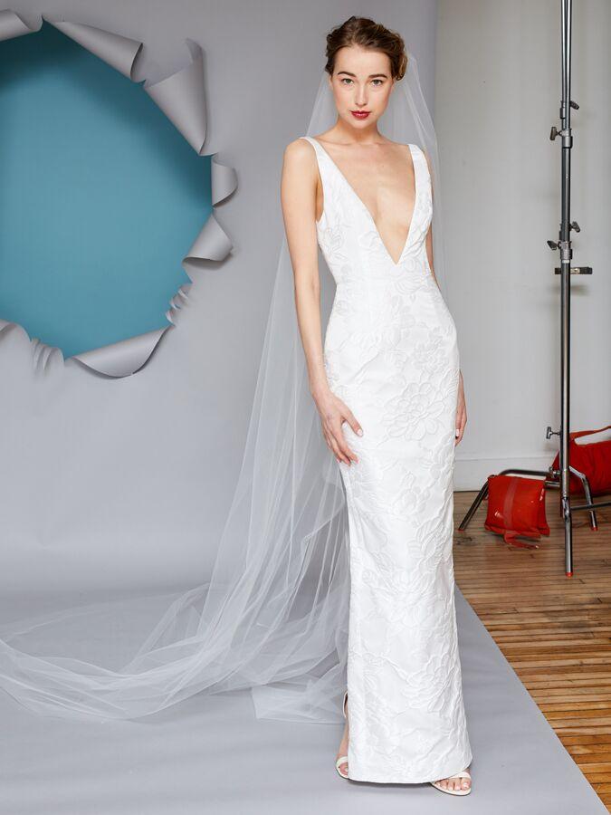 Gracy Accad V-neck brocade column wedding dress