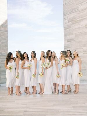 All-White Bridesmaids Dresses for Wedding in Cabo San Lucas, Mexico