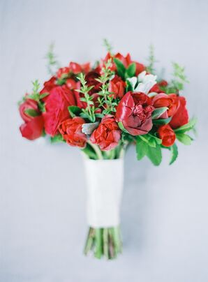 Red Peony and Rose Bouquet, White Wrap
