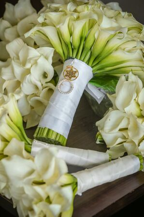 Calla Lily Bouquet Wrapped with Religious Charms