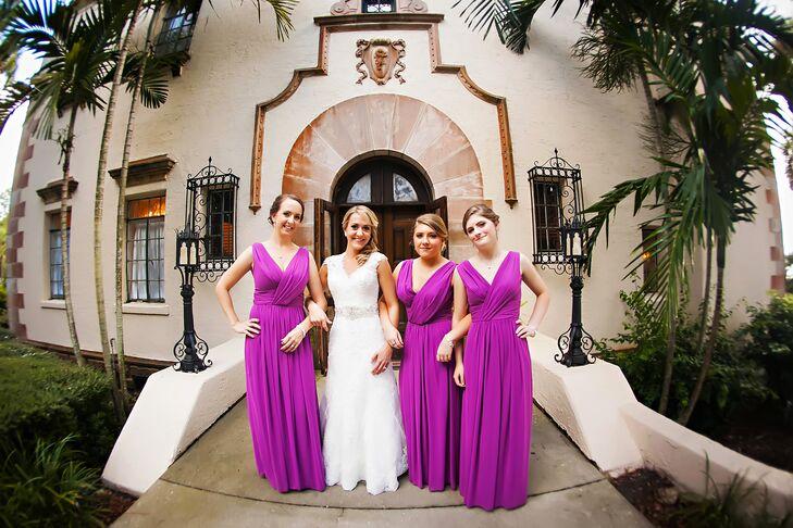 d4331911c09 Radiant Orchid Chiffon Bridesmaids Dresses