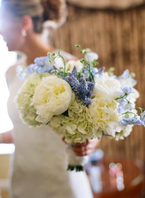 White Peony and Blue Muscari Bouquet
