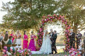 Whimsical, Bohemian Ceremony with Pink Wedding Arch and Confetti
