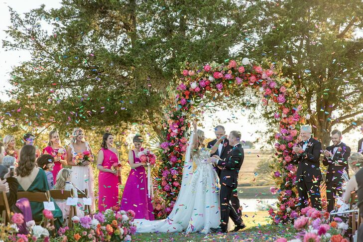 Lindsey Caldwell and Michael McConathy wed on a sunny November day at the bride's family's ranch in Brenham, Texas. About 300 guests attended the whi