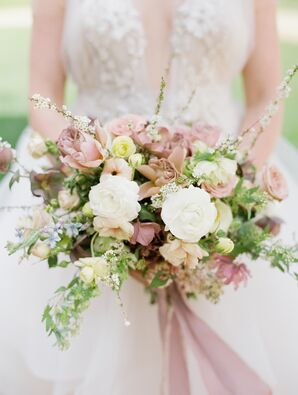 Blush Orchid, Rose and Ranunculus Bouquet