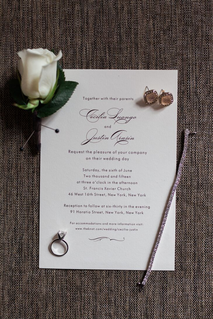 Busy Bride Print created these classic black-and-white invitations for the couple.