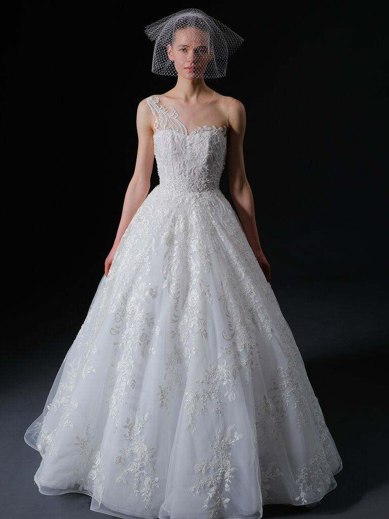Isabelle Armstrong Spring 2020 Bridal Collection one-shoulder lace A-line wedding dress