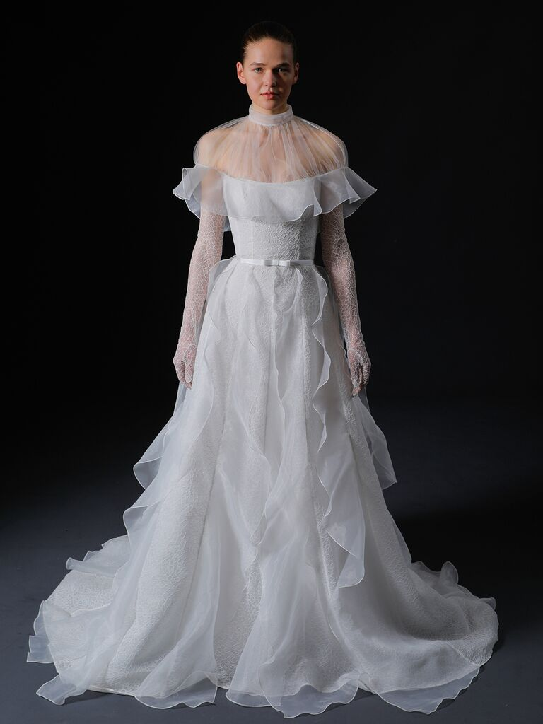 Isabelle Armstrong Spring 2020 Bridal Collection riffled A-line wedding dress with high illusion collar
