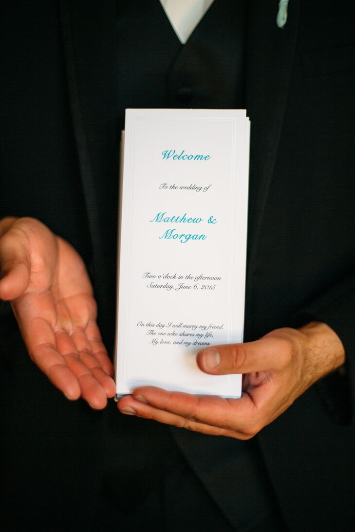 Tiffany blue lettering was embossed onto the rectangular white ceremony programs.