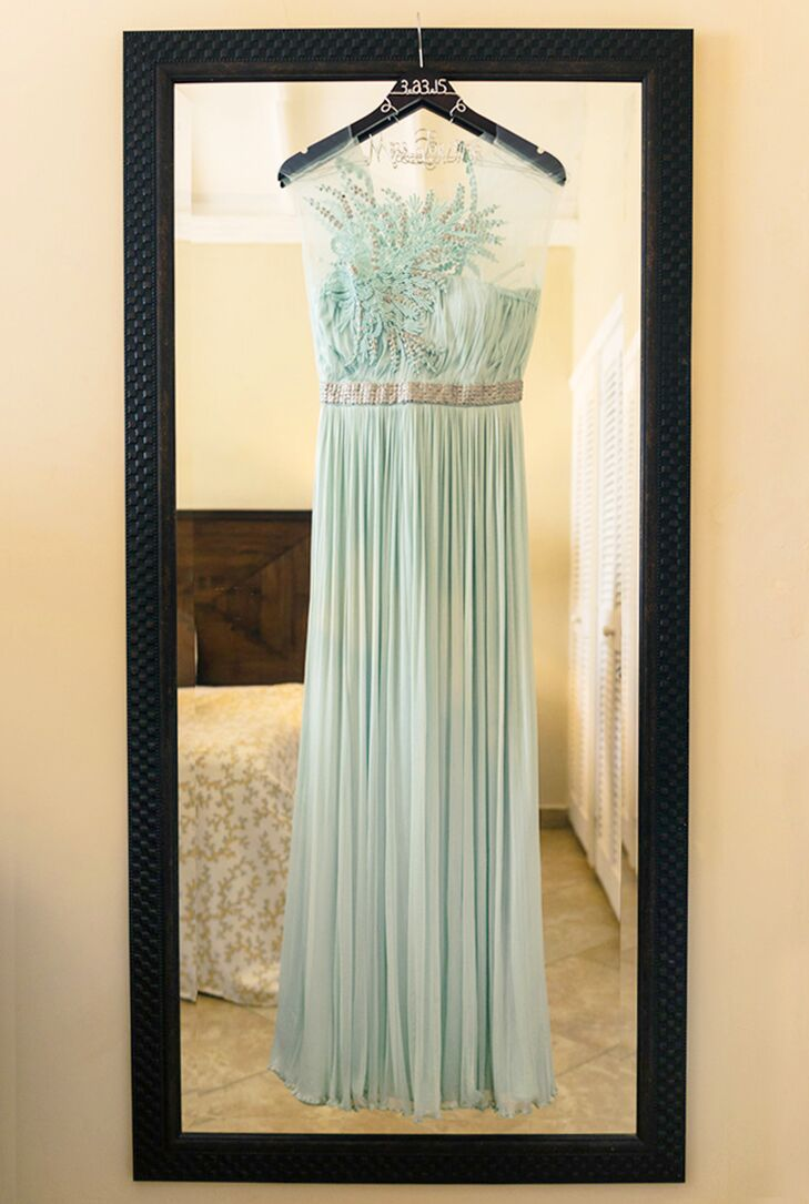 blue-green wedding dress