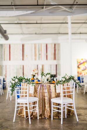 Round Tables with Gold Linens