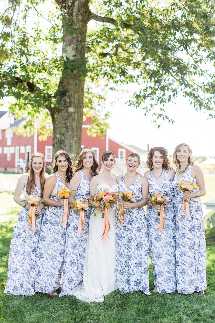 Blue Printed Bridesmaid Dresses