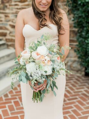 Romantic, Vintage-Inspired Peony and Garden Rose Bouquet with Eucalyptus
