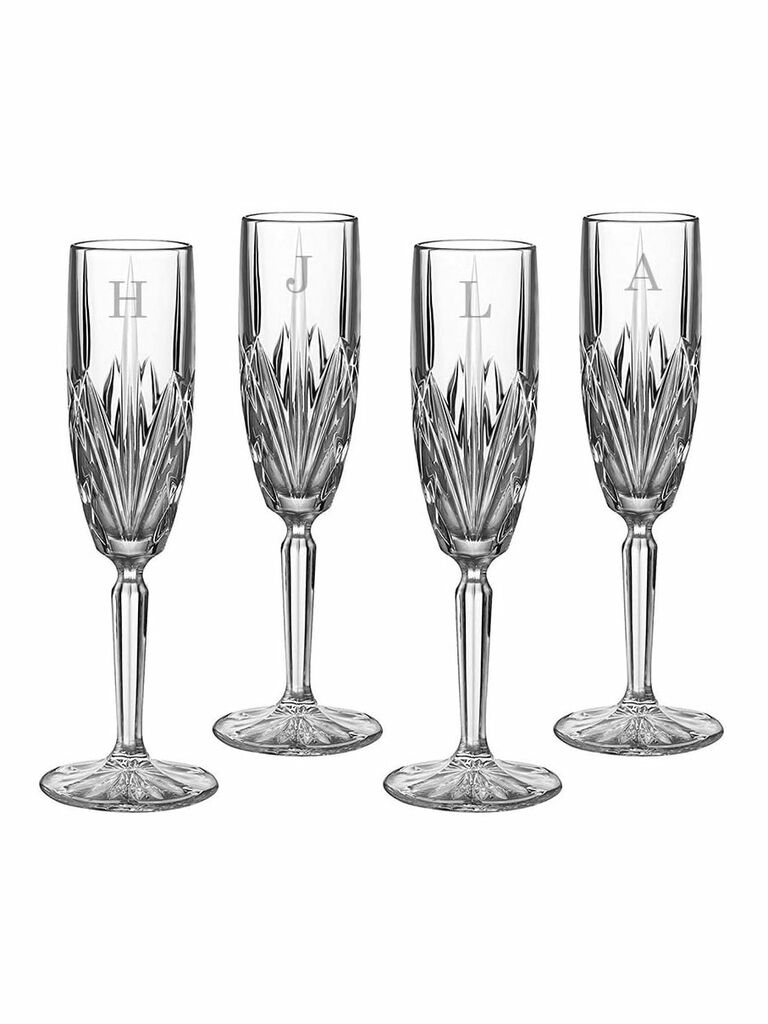 Crystal personalized champagne flutes fourth anniversary gift