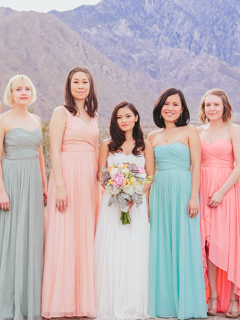 These mismatched bridesmaid dresses are the hottest trend pastel hued mismatched bridesmaid dresses ombrellifo Image collections