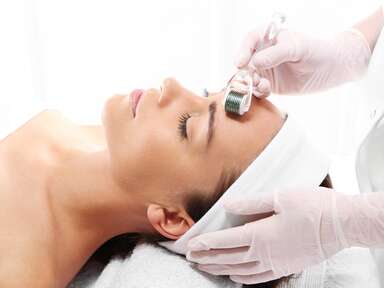 woman getting microneedling beauty treatment
