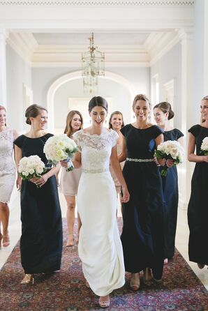 Bride with Wedding Party in Black Dresses