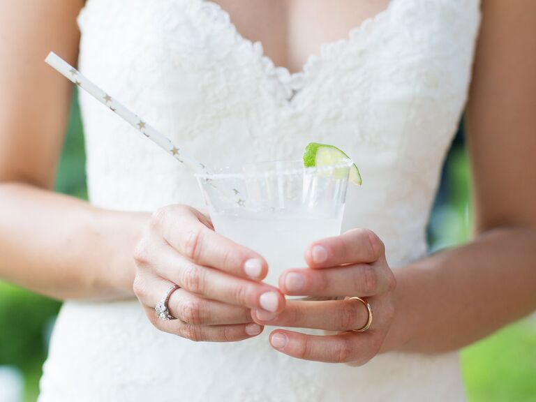 Signature Wedding Drink With Lime And Paper Straw