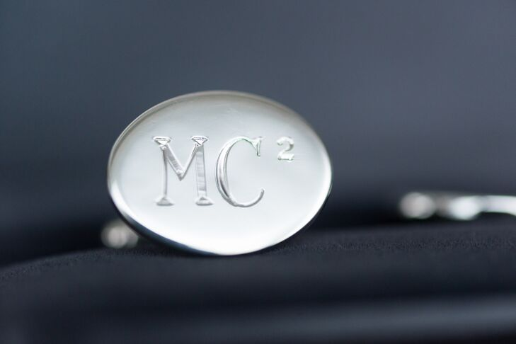 Since the couple share initials, the grooms wore custom silver cuff links ingraved with MC-squared.